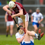 Conor Gleeson and Joe Canning tussle during the Allianz League meeting between Galway and Waterford in April Photo: Sportsfile