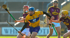 Shane O'Donnell has eyes only for the sliotar as he's pursued by Wexford duo Diarmuid O'Keeffe (L) and Damien Reck at Wexford Park yesterday Photo: Sportsfile