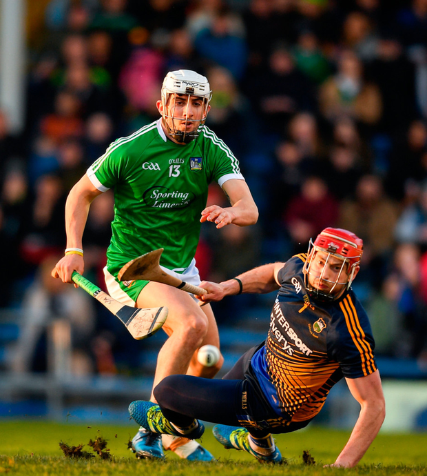 Tipperary's Daragh Mooney and Aaron Gillane of Limerick in action during last night's Allianz Hurling League Division 1 semi-final. Photo: Eóin Noonan/Sportsfile