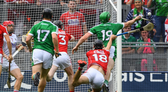 Shane Dowling – here being fouled for the incident that led to the Limerick penalty, which he scored against Cork – has been making a big impact off the bench all summer. Photo: Sportsfile