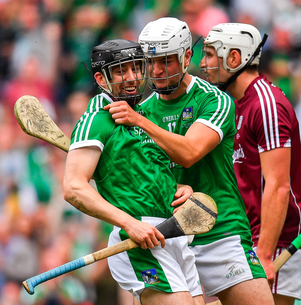 Graeme Mulcahy celebrates after scoring Limerick's opening goal with team-mate Kyle Hayes. Photo: Sportsfile