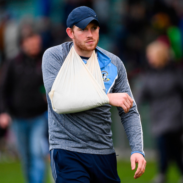 Shane Dowling after being forced off injured. Photo: Sportsfile