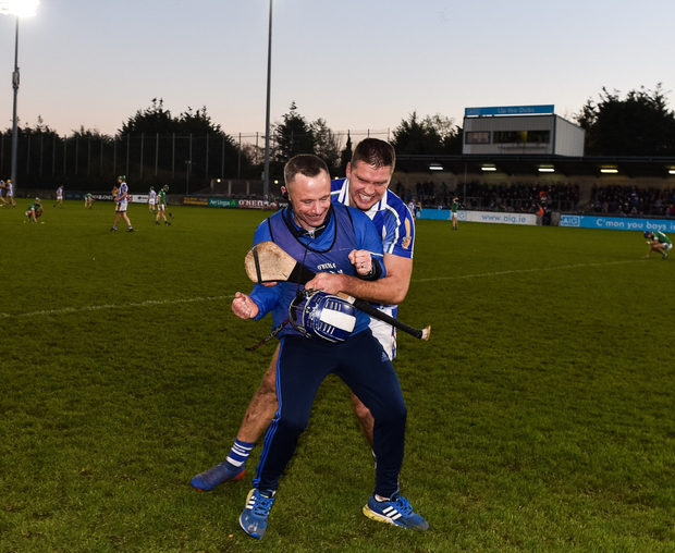 Ballyboden St Enda's manager Joe Fortune, right, celebrates with Conal Keaney following the AIB Leinster GAA Hurling Senior Club Championship semi-final match between Ballyboden St Enda's and Coolderry at Parnell Park, in Dublin. Photo by Sam Barnes/Sportsfile