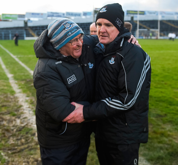 Dublin manager Mattie Kenny (right) is congratulated by county board chairman Seán Shanley. Photo: Sportsfile