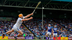 BlanchFull stretch: Laois goalkeeper Enda Rowland saves a shot from Dublin's Danny Sutcliffe during the famous win for the O'Moore men. Photo: Sam Barnes/Sportsfile