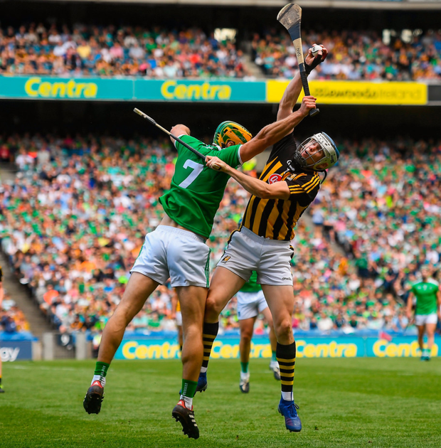 TJ Reid and Dan Morrissey battle for possession during yesterday's All-Ireland semi-final in Croke Park. Photo: David Fitzgerald. Photo: David Fitzgerald/Sportsfile