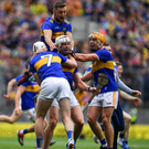 Tipperary players, from left, Séamus Kennedy Padraic Maher, James Barry and Ronan Maher celebrate after last Sunday's final. Photo: Brendan Moran