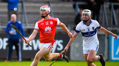 Cuala's Con O'Callaghan powers away from Mark Sweeney of St Vincent's during yesterday's Dublin SHC semi-final. Photo: David Fitzgerald/Sportsfile