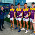 Model men: Wexford hurling boss Davy Fitzgerald with Conor Devitt, Conor McDonald, Lee Chin, and Niall Hughes as they show off the new county jersey for the coming season at the Zurich Insurance offices in Drinagh, Co Wexford. Photo: Sportsfile