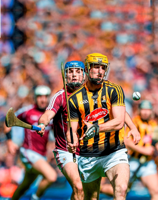 Colin Fennelly (Kilkenny) and Johnny Coen (Galway) in action during the Leinster Hurling Final in July