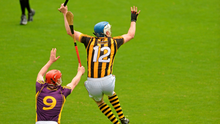Kilkenny's TJ Reid beats Wexford's Diarmuid O'Keeffe to the ball during the Leinster SHC clash in Nowlan Park (Sportsfile)