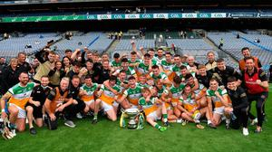 The Offaly players, officials and manager Michael Fennelly celebrate their Christy Ring Cup final win over Derry at Croke Park. Photo: Ray McManus/Sportsfile