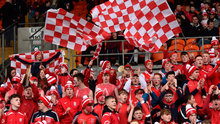 Cuala supporters celebrate during their All-Ireland Club SHC semi-final win over Slaughtneil – the club's youth policy has paid off with the numbers playing for Cuala below 18 soaring to around 1,500. Photo: Oliver McVeigh/Sportsfile