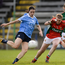 Dublin's Sinéad Aherne scores her side's second goal past Mayo goalkeeper Yvonne Byrne in the TG4 ladies football All-Ireland semi-final. Photo: Piaras Ó Mídheach