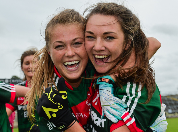 Sarah Rowe and Niamh Kelly celebrate Mayo's semi-final win over Cork. Photo: Sam Barnes / Sportsfile