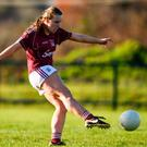 Emma Reaney of Galway shoots to score her side's sixth goal in the All-Ireland Ladies U-21 final yesterday Photo: Sportsfile