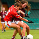 Ellie Jack of Cork collides with Galway's Aoife Molloy during the All-Ireland Ladies Football Minor A final at the Gaelic Grounds. Galway won the game 5-7 to 2-15 Photo by Diarmuid Greene/Sports