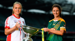 Neamh Woods is pictured with her Meath counterpart, Niamh O'Sullivan. Photo: Sportsfile