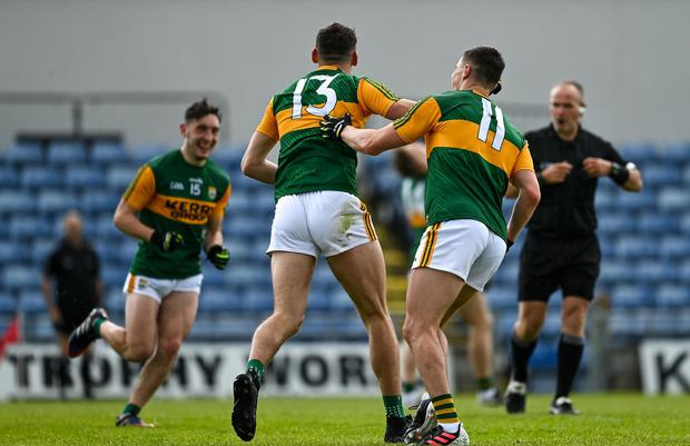 David Clifford celebrates with his Kerry team-mates after running riot against Galway