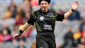 Referee Liz Dempsey during the All-Ireland Senior Camogie Championship final match between Cork and Galway at Croke Park. Photo by Piaras Ó Mídheach/Sportsfile