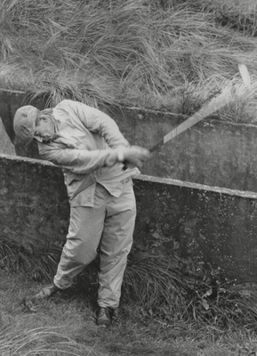 Jimmy Bruen plays from the rough during the Amateur Golf Championship at Portrush