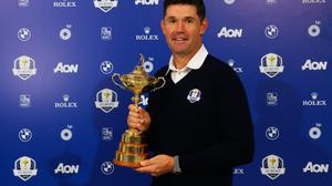 Team Europe Ryder Cup Captain Padraig Harrington pictured with the Ryder Cup. Photo: Andrew Redington/Getty Images