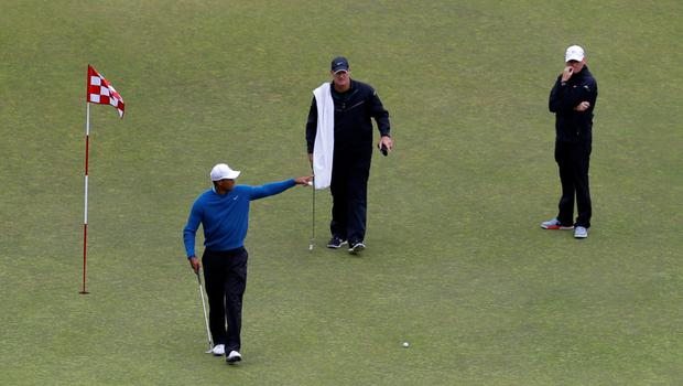 Tiger Woods on the ninth green during a practice round at Chambers Bay last Tuesday Photo: Ted S. Warrening