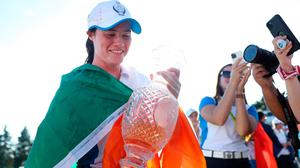 Leona Maguire of Team Europe celebrates with the Solheim Cup at the Inverness Club in Ohio. (Photo by Maddie Meyer/Getty Images)