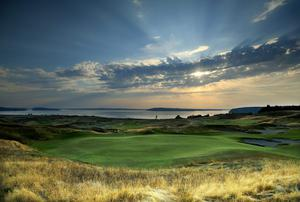 A view from beside the green on the 13th hole at Chambers Bay Golf Course, the venue for the 2015 US Open Championship