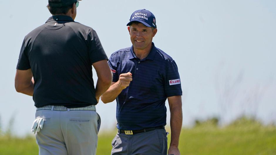 Pádraig Harrington celebrates a birdie along with Phil Mickelson (left) during the second round of the PGA Championship at Kiawah Island. Photo: Chris Carlson/AP Photo