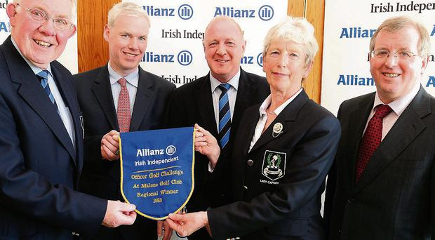 Winners: Peter Kilcullen of Allianz (second left) and Irish Independent Golf Editor Liam Kelly (right) with Dunmurry's George Gillespie, Trevor Lamont and Jean White