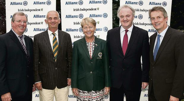 Winners: Liam Kelly of the Irish Independent (left) with Kevin Saunders (vice-captain Woodenbridge), Siobhan Saunders (lady captain) Brendan Murphy (Group CEO Allianz), Michael Davern (CEO K Club)