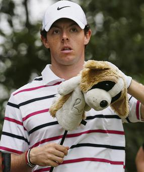 Rory McIlroy prepares to tee off at the eighth hole during the first round of the HSBC Champions golf tournament