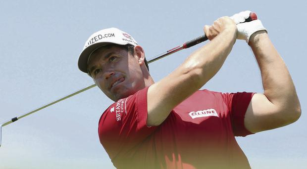 Padraig Harrington drives off the tee during the second round in Durban