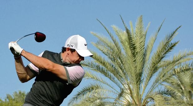 Rory McIlroy hits a shot on the 16th hole during the pro-am event prior to the Omega Dubai Desert Classic Getty Images