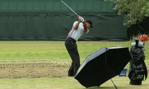 Tiger Woods on the practice ground at Hoylake yesterday