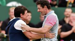 Rory McIlroy celebrates with his mother, Rosie, after winning the British Open. PA WIRE