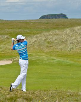 Rory McIlroy at Ballyliffin Golf Club in Co Donegal, which is in danger of being washed away