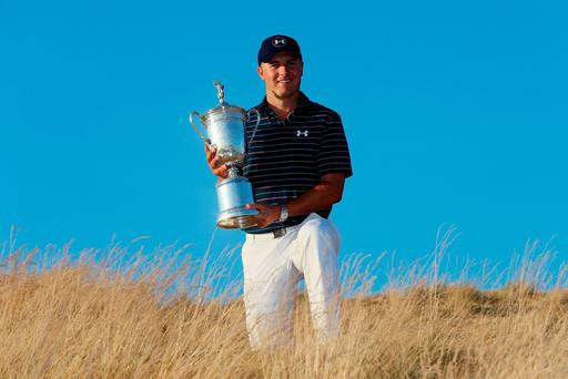 Jordan Spieth holds the US Open trophy after his success at Chambers Bay this year