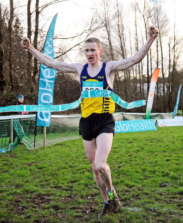 Sean Hehir of Rathfarnham WSAF AC, on his way to winning the Senior Men's 10000m at the GloHealth Inter County Cross Country Championships in Tuam. Photo: Sportsfile