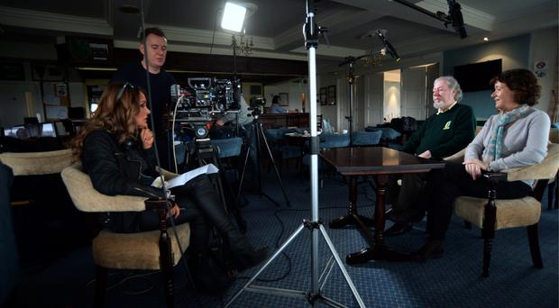 Kevin Farrell and his wife Joan talk to Joanne McGrath of The Golf Channel at Black Bush. Photo: Caroline Quinn.