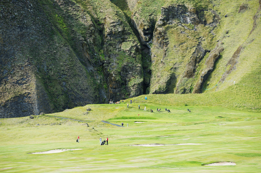 Despite the hostile nature of the landscape, Icelanders have shown their resourcefulness by creating playable golf courses, such as Westman Islands Golf Club on Heimaey Island. Photo: Robert Harden/REX/Shuttershock