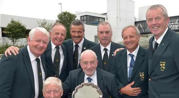 Irish Seniors Team Captain Sean O'Leary with the 2015 European Senior trophy and team members (clockwise) Maurice Kelly, Tommie Basquille (Team Manager), Tom Cleary, Adrian Morrow, Garth McGimpsey, Arthur Pierse and John Mitchell Photo: Pat Cashman