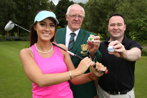 Oyster Pearl Shannon Graham joins Captain of Lisburn GC Ken Haslem and Stephen Houston, Associate Partner GMcG Lisburn at the launch