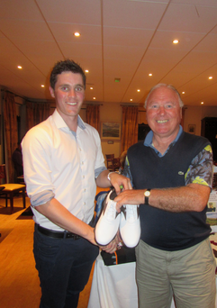 Charles McGoldrick presents first prize to Joe Clarke (16) 40pts