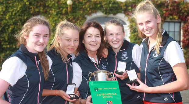 Milltown's Ellen O'Gorman, Georgia Carr, Rhona Breslin (manager), Emma Walsh and Aisling Walsh celebrate victory. Picture: Ronan Lang. Picture: Ronan Lang