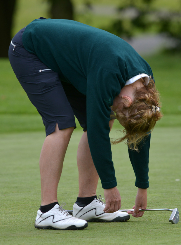 Bernie Kilmartin (Portumna) holes a putt in the Minor Cup Final at the 2015 AIG Ladies Cups and Shields Finals at Knightsbrook Golf Club. Photo: Backbench
