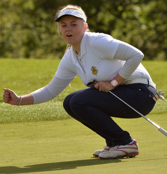 Ruth Keating (Castle) reacts to a missed putt in the Senior Foursomes Final at the 2015 AIG Ladies Cups and Shields Finals at Knightsbrook Picture by Pat Cashman