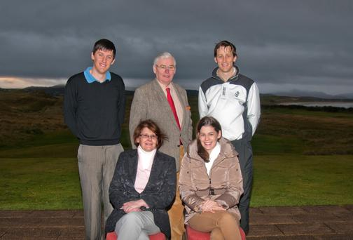 (Back left to right) John Casey, Frank Casey Snr and Frank Casey Jnr (front left to right) Hilary Casey and Catherine Casey at Rosapenna