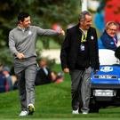 Rory McIlroy with Europe vice-captain Sam Torrance during a practice round at Hazeltine yesterday. Photo: Sportsfile